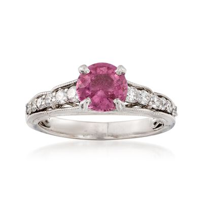 C. 2000 Vintage 1.30 Carat Pink Sapphire and .35 ct. t.w. Diamond Ring in 14kt White Gold, , default