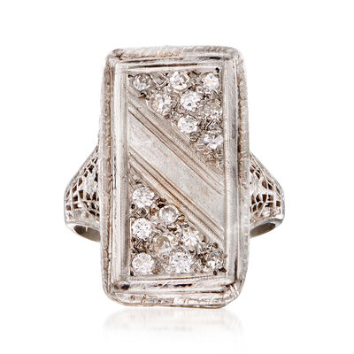 C. 1950 Vintage .25 ct. t.w. Diamond Elongated Ring in 14kt White Gold, , default