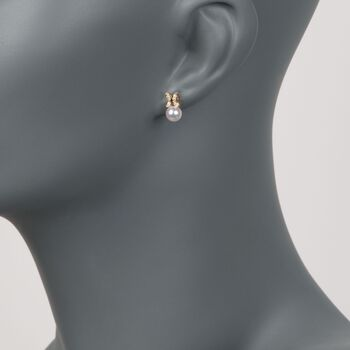 Mikimoto Akoya Pearl and Diamond Earrrings in 18-Karat Yellow Gold, , default