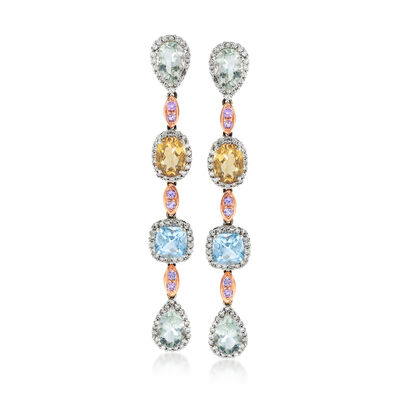C. 1990 Vintage 10.45 ct. t.w. Multi-Stone and 1.48 ct. t.w. Diamond Drop Earrings in 14kt White Gold, , default