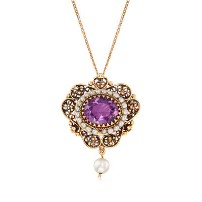 C. 1980 Vintage 6.50 Carat Amethyst and 2.5-6mm Cultured Pearl Filigree Pendant Necklace in 14kt Yellow Gold, , default