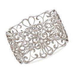 C. 2000 Vintage 3.00 ct. t.w. Diamond Openwork Floral Bangle Bracelet in 14kt White Gold, , default