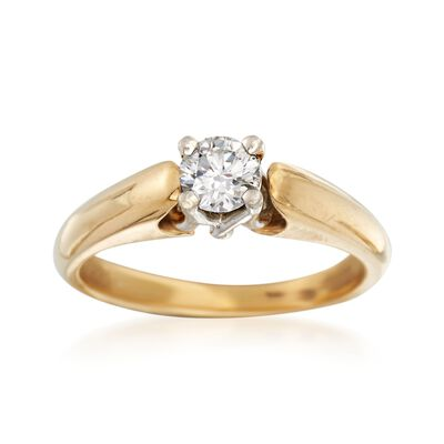 C. 2000 Vintage .44 Carat Diamond Solitaire Ring in Platinum and 18kt Gold, , default