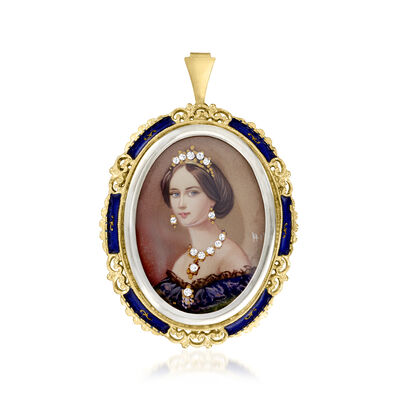 C. 1980 Vintage .10 ct. t.w. Diamond Painted Cameo Pin/Pendant with Blue Enamel in 18kt Yellow Gold