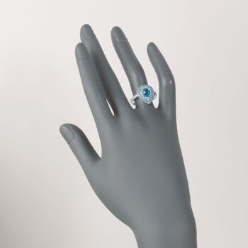 Gregg Ruth 2.40 ct. t.w. Blue Topaz and .27 ct. t.w. Diamond Ring in 18kt White Gold    , , default