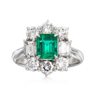C. 1990 Vintage 1.48 ct. t.w. Diamond and 1.18 Carat Emerald Ring in Platinum