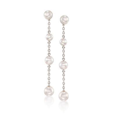 Mikimoto 4.5-6mm A+ Akoya Pearl Station Drop Earrings in 18kt White Gold, , default