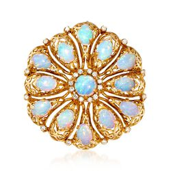 C. 1960 Vintage Opal and .45 ct. t.w. Diamond Pin Pendant in 18kt Yellow Gold, , default