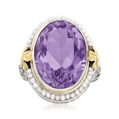 C. 1950 Vintage 11.00 Carat Amethyst Ring with Seed Pearls in 10kt Two-Tone Gold