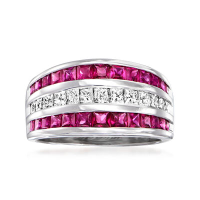 C. 1980 Vintage 2.20 ct. t.w. Ruby and 1.00 ct. t.w. Diamond Ring in 14kt White Gold