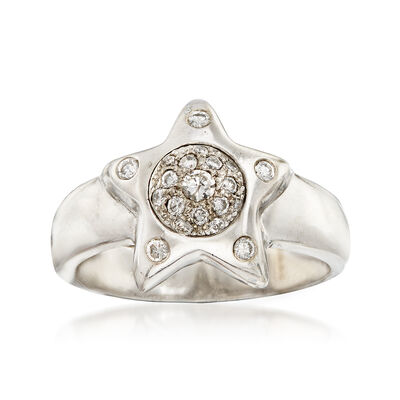 C. 1990 Vintage .25 ct. t.w. Diamond Star Ring in 14kt White Gold