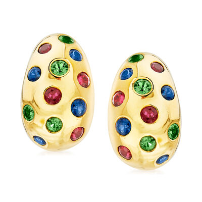 C. 1990 Vintage Jean Viteau 3.40 ct. t.w. Multi-Gemstone Clip-On Hoop Earrings in 18kt Yellow Gold