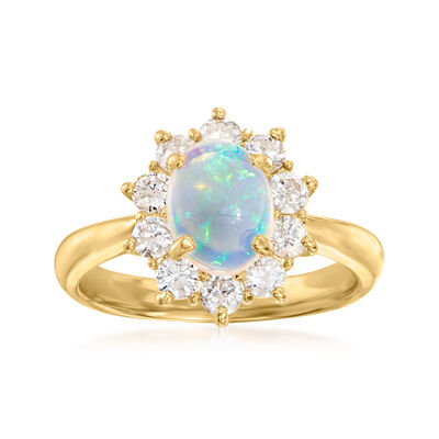 C. 1980 Vintage Opal Ring with .58 ct. t.w. Diamonds in 18kt Yellow Gold