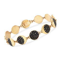 C. 1990 Vintage Pamela Love 1.00 ct. t.w. Black Diamond Moon Phase Bracelet in 18kt Yellow Gold, , default