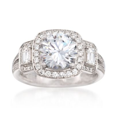 Simon G. .86 ct. t.w. Diamond Engagement Ring Setting in 18kt White Gold