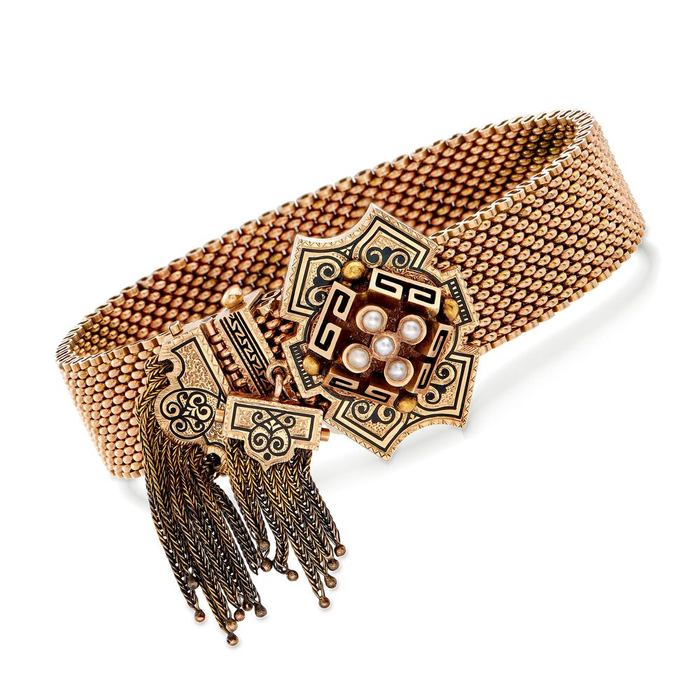 ae4fa527d C. 1900 Vintage 14kt Yellow Gold Mesh Tassel Bracelet with Black Enamel and Cultured  Pearls