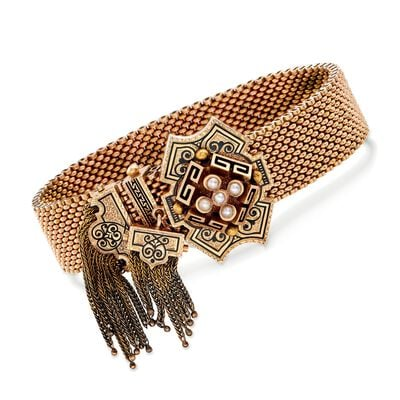 C. 1900 Vintage 14kt Yellow Gold Mesh Tassel Bracelet with Black Enamel and Cultured Pearls, , default