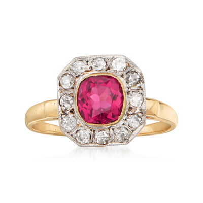 C. 1920 Vintage 1.00 Carat Pink Tourmaline and .25 ct. t.w. Diamond Ring in 14kt Yellow Gold