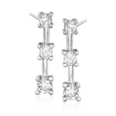 C. 1990 Vintage .50 ct. t.w. Diamond Linear Drop Earrings in 14kt White Gold