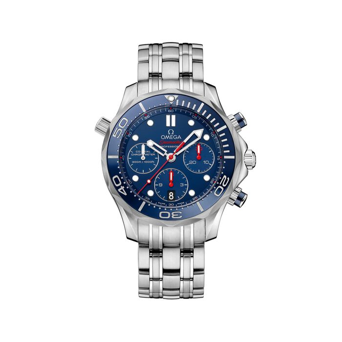 Omega Seamaster Diver 44mm Men's Auto Chronograph Stainless Steel Watch - Blue Dial, , default