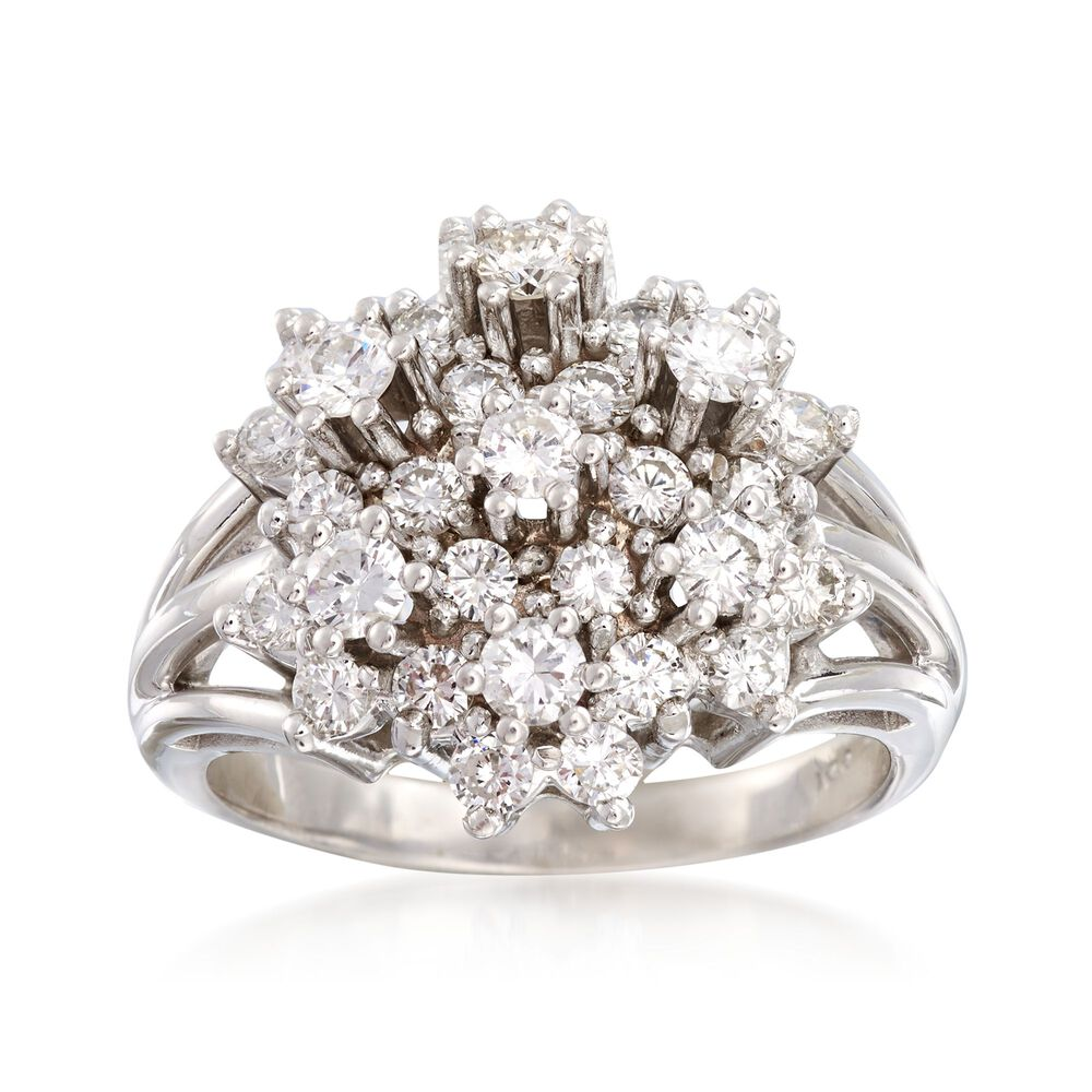 6d0669bc0287a C. 1980 Vintage 2.00 ct. t.w. Diamond Cluster Ring in 14kt White Gold. Size  9.75