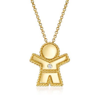 "Roberto Coin ""Princess"" Boy Pendant Necklace with Diamond Accent in 18kt Yellow Gold, , default"