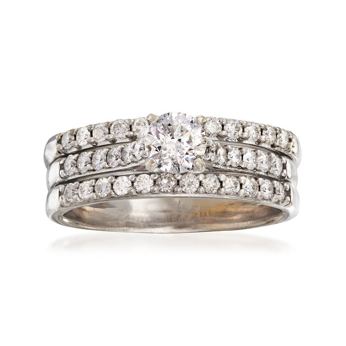C. 1990 Vintage 1.50 ct. t.w. Diamond Engagement Ring in 18kt White Gold. Size 9.5, , default