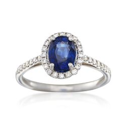 C. 2000 Vintage 1.45 ct. t.w. Sapphire and .34 ct. t.w. Diamond Ring in 18kt White Gold, , default