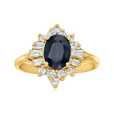 C. 1980 Vintage 1.75 Carat Sapphire and .25 ct. t.w. Diamond Ring in 14kt Yellow Gold