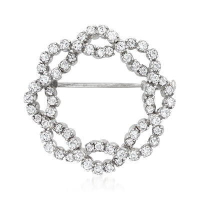 C. 1994 Vintage 2.00 ct. t.w. Diamond Twisted Circle Pin in 18kt White Gold