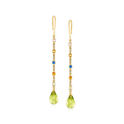 C. 1990 Vintage 4.30 ct. t.w. Peridot and .50 ct. t.w. Multicolored Sapphire Drop Earrings with Diamond Accents in 14kt Yellow Gold