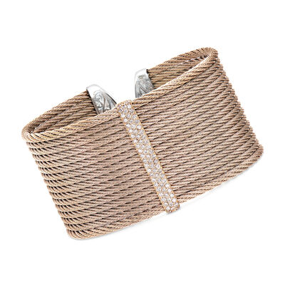 """ALOR """"Classique"""" .56 ct. t.w. Diamond Blush Cable Cuff Bracelet in Stainless Steel with 18kt Rose Gold, , default"""