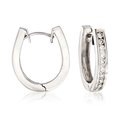 C. 1990 Vintage 1.00 ct. t.w. Diamond U-Shaped Hoop Earrings in 14kt White Gold, , default