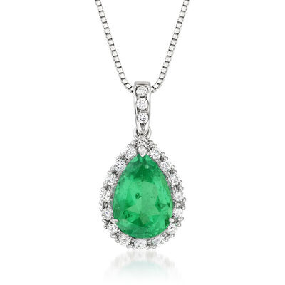 C. 1990 Vintage Certified 3.40 Carat Emerald and .40 ct. t.w. Diamond Pendant Necklace in Platinum and 18kt White Gold
