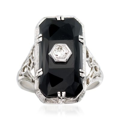 C. 1950 Vintage Faceted Black Onyx Ring with Diamond Accents in 18kt White Gold, , default