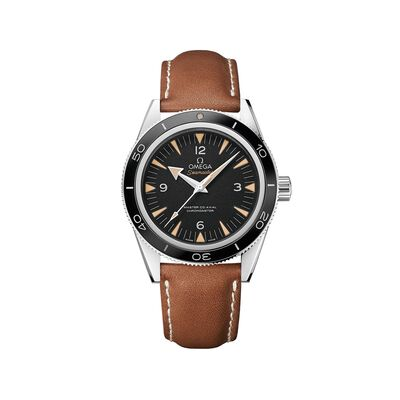 Omega Seamaster Men's 41mm Stainless Steel Watch with Black Dial and Brown Leather Strap
