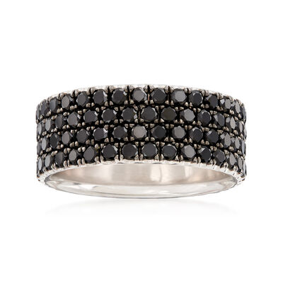 Henri Daussi Men's 4.90 ct. t.w. Pave Black Diamond Wedding Ring in 14kt White Gold, , default