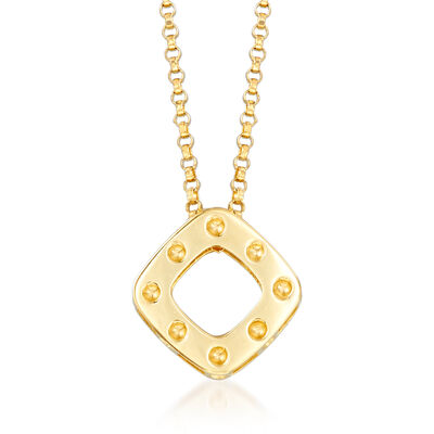 "Roberto Coin ""Pois Moi"" Square Drop Necklace in 18kt Yellow Gold"