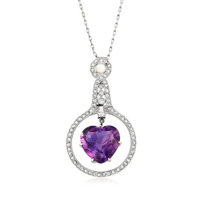 C. 1930 Vintage Cartier 8.40 Carat Amethyst, .80 ct. t.w. Diamond and 4mm Cultured Pearl Heart Necklace in Platinum