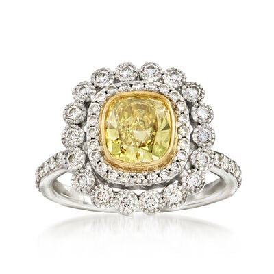 C. 2000 Vintage Tiffany Jewelry 1.75 ct. t.w. Yellow and White Diamond Ring in 18kt White Gold and Platinum, , default