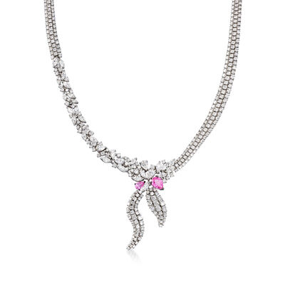 C. 1990 Vintage Stefan Hafner 19.15 ct. t.w. Diamond and 2.00 ct. t.w. Pink Sapphire Necklace in 18kt White Gold, , default
