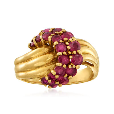 C. 1980 Vintage 1.50 ct. t.w. Ruby Knot Ring in 14kt Yellow Gold