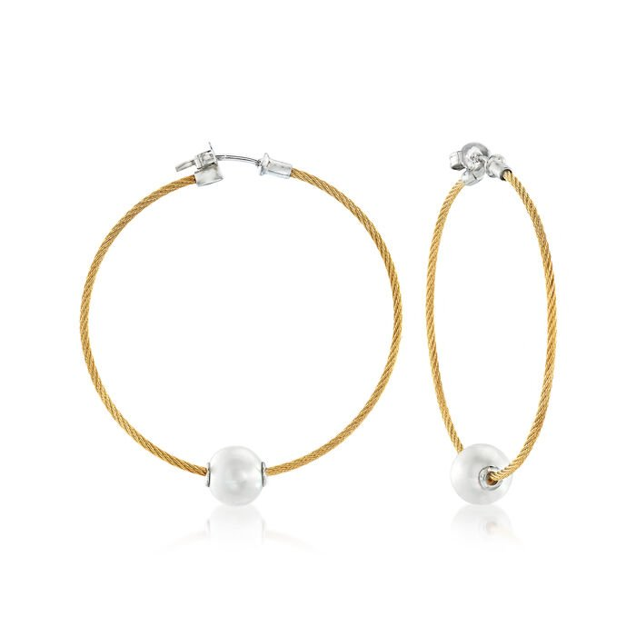 """ALOR """"Classique"""" 8mm Cultured Pearl and Yellow Stainless Steel Cable Hoop Earrings with 18kt White Gold"""