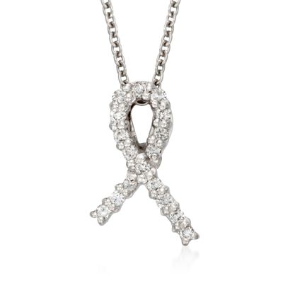 """Roberto Coin Tiny Treasure """"Hope"""" Diamond Accent Necklace in 18kt White Gold, , default"""
