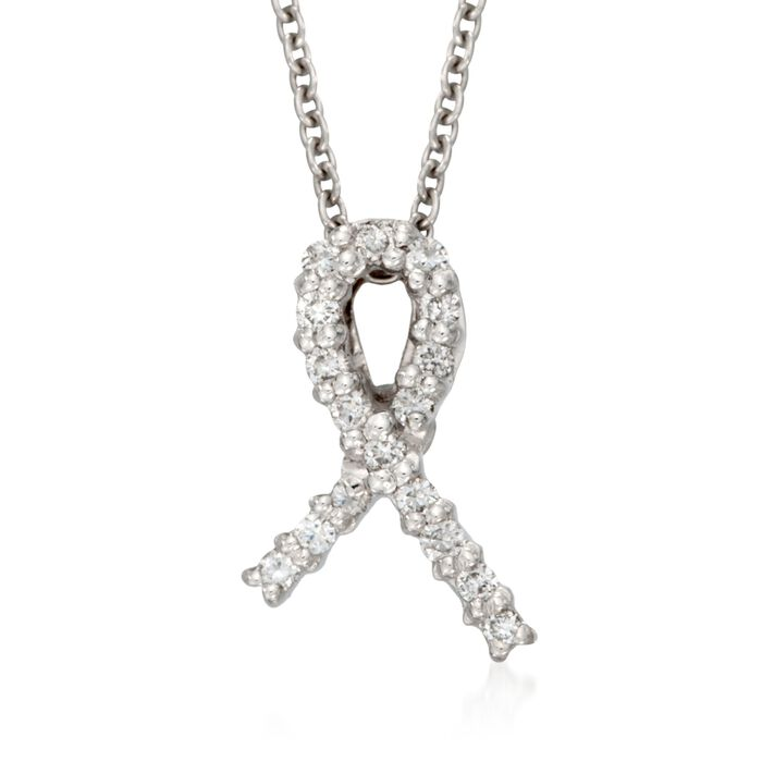 """Roberto Coin Tiny Treasures Diamond Accent Hope Necklace in 18-Karat White Gold. 18"""", , default"""
