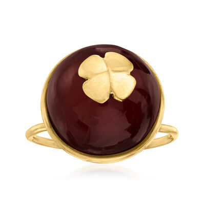 C. 1950 Vintage Carnelian Clover Ring in 18kt Yellow Gold