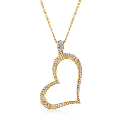 C. 1990 Vintage 1.15 ct. t.w. CZ Heart Pendant Necklace in 18kt Two-Tone Gold