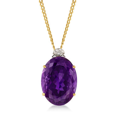 C. 1970 Vintage 64.00 Carat Amethyst Pendant Necklace with .10 ct. t.w. Diamonds in 14kt Two-Tone Gold