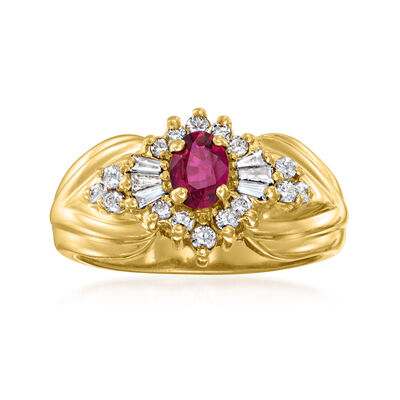 C. 1980 Vintage .30 Carat Ruby and .25 ct. t.w. Diamond Ring in 14kt Yellow Gold