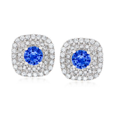 C. 1980 Vintage .80 ct. t.w. Sapphire and .65 ct. t.w. Diamond Earrings in 18kt White Gold